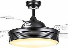 MMYNL Modernes, minimalistisches unsichtbare Decke Ventilator Lampe Fans für Wohnzimmer Restaurant Schlafzimmer Haus mit LED schwarz Ventilator Lampe, 36 Zoll, dimmbar (Fernbedienung)