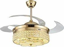 MMYNL Stealth Crystal Deckenventilator Restaurant Mute Fan Light im europäischen Stil mit variabler Frequenz Wohnzimmer Schlafzimmer mit Ventilator LED Pendelleuchte, Golen 36 Zoll, weißes Licht + Fernbedienung