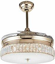 MMYNL Stealth Crystal Deckenventilator Restaurant Mute Fan Light im europäischen Stil mit variabler Frequenz Wohnzimmer Schlafzimmer mit Ventilator LED Pendelleuchte, Rose Gold 36 Zoll-Seiten -, dimmbar + Fernbedienung