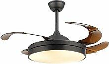 MMYNL Unsichtbare Lüfter einfache Deckenventilator mit Lampe für Wohnzimmer Esszimmer Slim Lüfter Hängeleuchten Schlafzimmer, moderne mode Fan Lichter, weißes Licht + Fernbedienung 24 W, schwarz
