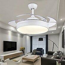 MMYNL Unsichtbare Lüfter einfache Deckenventilator mit Lampe für Wohnzimmer Esszimmer Slim Lüfter Hängeleuchten Schlafzimmer, moderne mode Fan Lichter, weißes Licht + Fernbedienung 24 W, Weiß
