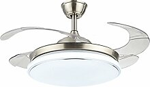 MMYNL Unsichtbare Lüfter einfache Deckenventilator mit Lampe für Wohnzimmer Esszimmer Slim Lüfter Hängeleuchten Schlafzimmer, moderne Mode Lüfter-Leds, Dimmbar + Fernbedienung, 36 Zoll 24 W, Sliver