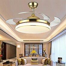 MMYNL Unsichtbare Lüfter einfache Deckenventilator mit Lampe für Wohnzimmer Esszimmer Slim Lüfter Hängeleuchten Schlafzimmer, moderne Mode Lüfter-Leds, Dimmbar + Fernbedienung, 36 Zoll 24W, Golden