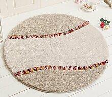 MNII GepräGt Teppiche Runden LäNdlichen Stil SchöN Schlafzimmer Teppich Badezimmer TüRmatten Rutschfest FußAuflage , 70cm*70cm- Geeignet für Home Dekoration