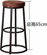 MNII Hochhocker Retro Barhocker Einfache Massivholz Eisen Stuhl Bord Kissen Sitz Ring Pedal Geeignet für Bar Startseite Empfang hoch 65cm 75cm 85cm , 65cm , 1