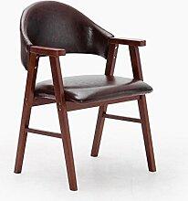 MNII Hocker Massivholz Stuhl Mit Armlehnen sessel Montage Hocker Tuch mit PU kissen Frühstücksstuhl Geeignet für Wohnzimmer studieren 57 * 58,5 * 81,5 cm Feste farbe , 20