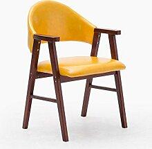 MNII Hocker Massivholz Stuhl Mit Armlehnen sessel Montage Hocker Tuch mit PU kissen Frühstücksstuhl Geeignet für Wohnzimmer studieren 57 * 58,5 * 81,5 cm Feste farbe , 17