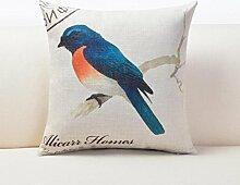 MNII Kissen Hold Sofa Verdickt Baumwoll-Leinen Große Kissen Farbe Papagei Drucken und färben Kissen Bett Office Stuhl Mit Core Taille Kissen Größe 45 *45 cm , 5