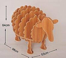 MNII kreative Bücherregal Schaf Bookshelves Tier Modelling Fashion Home Regale Wohnzimmer-Dekoration aus Holz 55 * 98 * 64cm , solid wood walnut, 0.64 meters tall- Hauptdekoration