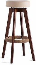 MNII Mode-Vintage-Bar Bankstuhl Hoher Stuhl Holz Hoher Stuhl Barhocker Sessel Wohnzimmer 48 * 48 * 74cm , 74cm brown frame beige (rao sheng)- Komfortables Zuhause