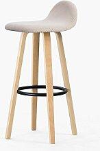 MNII Persönlichkeit Massivholz Hoher Stuhl Barstuhl Zurück Eisen Barhocker Barhocker Barstühle Haushalt Rezeption 33 * 33 * 69.5cm , natural iron color beige small ripple- Schöne Möbel