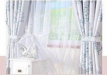 MNII Vorhang Wildleder Schattierung Jacquard Stoff Pflanze Retro Beidseitig Schlafzimmer Wohnzimmer Landung Blau Verknüpfte Modelle