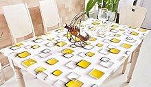 MNII Wasserdichte Anti-Öl-Tischdecke pvc transparente Plastiktapete Gelber Kasten Rechteck Verwendbar auf Couchtisch Esstisch , 80*80cm- Sauber und bequem