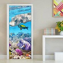 MNJKH Tür Aufkleber Tapete, Unterwasser Welt