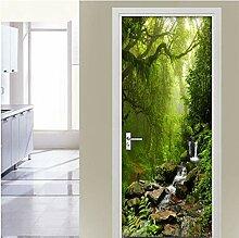 MNJKH Tür Aufkleber Tapete Wandbild, Green Forest