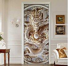 MNJKH Tür Aufkleber Tapete Wandbild, Jade Carving