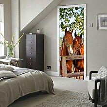 MNJKH Tür Aufkleber Tapete Wandbild, Pferde Tür