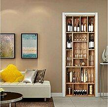 MNJKH Tür Aufkleber Tapete Wandbild, Weinschrank