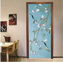 MNJKH Türaufkleber Wandbild, Chinese Style Flower