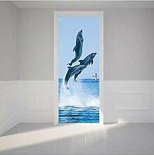 MNJKH Türaufkleber Wandbild, Dolphins