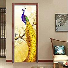 MNJKH Türaufkleber Wandbild, Golden Peacock Tür