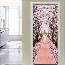 MNJKH Türaufkleber Wandbild, Pink Cherry Tree