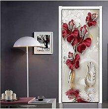 MNJKH Türaufkleber Wandbild, rote Blume