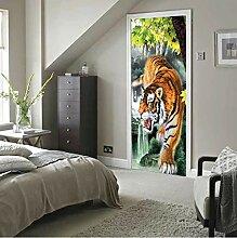 MNJKH Türaufkleber Wandbild, Tiger Türaufkleber