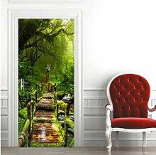 MNJKH Türaufkleber Wandbild, Waldtür Aufkleber