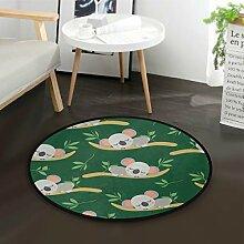 Mnsruu Baby-Teppich, rund, mit Koalabär-Motiv,