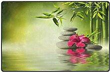 Mnsruu Bambus-Teppich mit Blumen-Zen-Motiv,