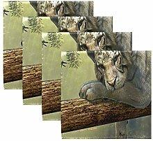 MNSRUU Dschungel-Tiger-Stoffservietten, waschbar,