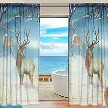 Mnsruu Fenster Gardinen Aquarell Winter mit