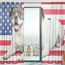 Mnsruu Fenster Gardinen, Bulldogge Mit USA Flagge