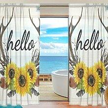 Mnsruu Fenster Gardinen Hallo Mit Sunflower Deer
