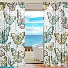 Mnsruu Fenster Gardinen Schmetterlinge Dekoration