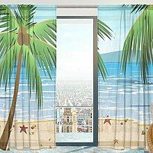 Mnsruu Fenster Gardinen, Strand Mit Palmen Weiche