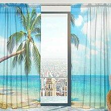 Mnsruu Fenster Gardinen, Tropical Beach Mit Palmen