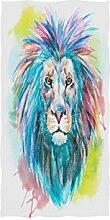 MNSRUU Handtuch mit Löwen-Motiv, Aquarell, 76 x