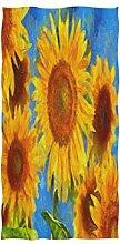 MNSRUU Handtuch mit Sonnenblumen-Ölgemälde,