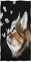 Mnsruu Handtuch mit süßem Katzenmotiv und