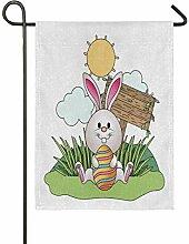 Mnsruu Ostern-Gartenflagge Hase mit Osterei, 30,5