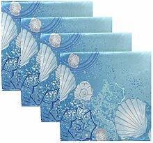 MNSRUU Stoffservietten, Meeresmuscheln, Blau,