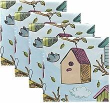 MNSRUU Stoffservietten, Motiv: Vögel und