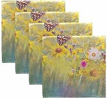 MNSRUU Stoffservietten, Schmetterlinge und Blumen,