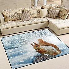 MNSRUU Teppich, groß, 203 x 147 cm, Eichhörnchen