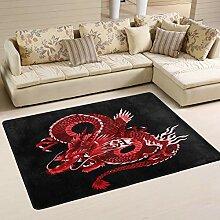 Mnsruu Teppich, japanischer roter Drache, schwarz,