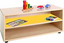 mobeduc 600101hp17Waschtisch Kinder Tiefer/Regal, Holz, Buche und Gelb, 90x 40x 44cm