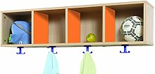 mobeduc 600606h19Waschtisch Garderobe mit 4Kästchen, Holz, Buche und Orange, 120x 28x 36cm