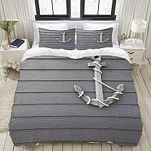MOBEITI Bedding Bettwäsche-Set,Holz Anker mit dem